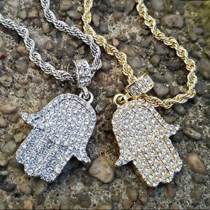 Iced Out Hamsa Hand Pendant With Rope Chain NEW